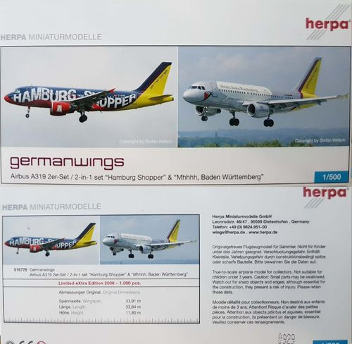 Herpa Wings Set of 2 - Germanwings A319-112 1:500 - 516778