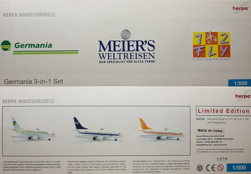 Herpa Wings 3er Set: Germania B 737-75B 1:500 -  D-AGEO -  D-AGEW -  D-AGES - 505536