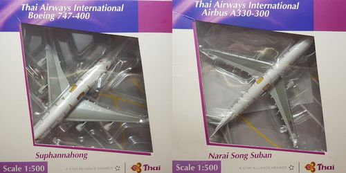 Herpa Wings Set Thai Airways Boeing 747 HS-TGJ & Airbus A330 HS-TEK 1:500 513302