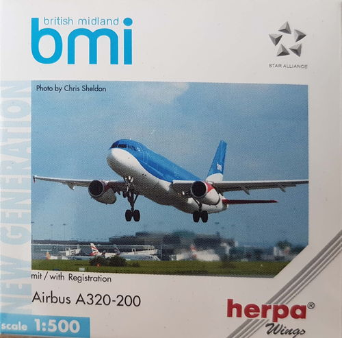 Herpa Wings bmi British Midland A320-232 1:500 - 513036